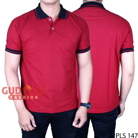 Polo Shirt Pria Polos Pendek Hitam polo shirt lengan pendek pria lacost pe maroon kerah hitam