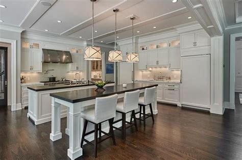 kitchen with two islands 1000 ideas about white leather bar stools on pinterest