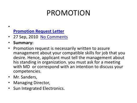 Request Letter Promotion Letter Of Consideration For Promotion Images