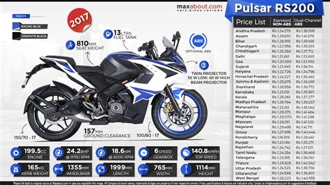 pulsar lighting price list state wise ex showroom price list of 2017 bajaj pulsar rs200