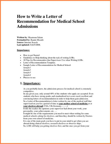 Recommendation Letter Medicine School Letter Of Recommendation Template Template Design