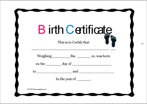 birth certificate templates  ms word