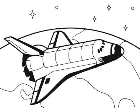 Spaceship Drawing Clipart Best Space Shuttle Coloring Page