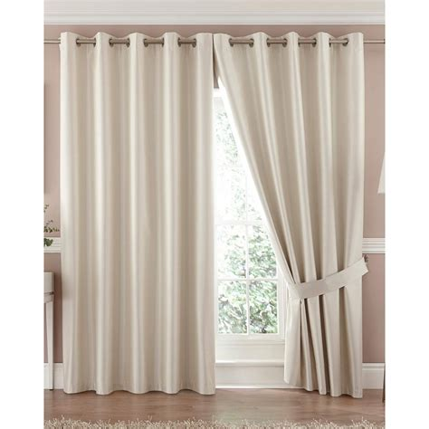 cream silk curtains faux silk ring top blackout curtain available in cream