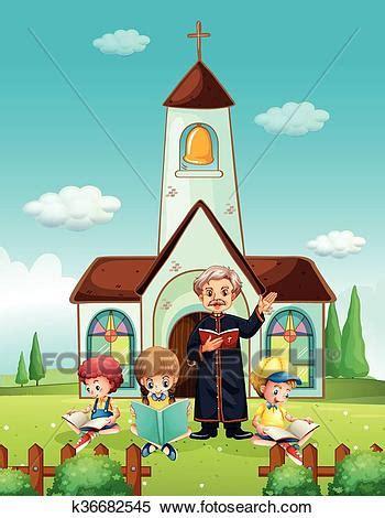 clipart chiesa clipart prete e bambini a chiesa k36682545 cerca