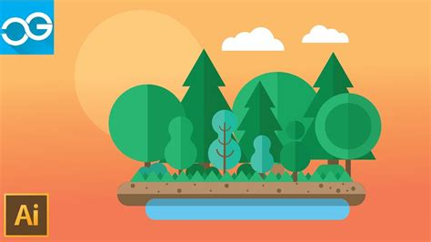 tutorial design flat how to make flat design the forest illustrator tutorial