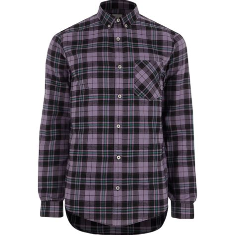 Check Sleeve Fit Shirt purple check slim fit sleeve shirt shirts sale