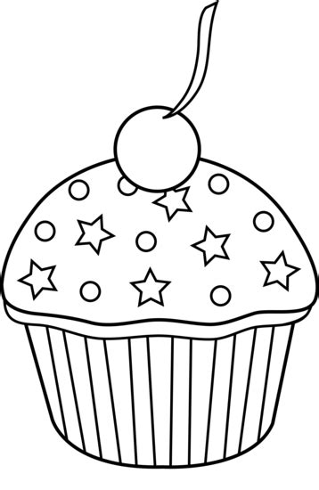 cute colorable cupcake design  clip art