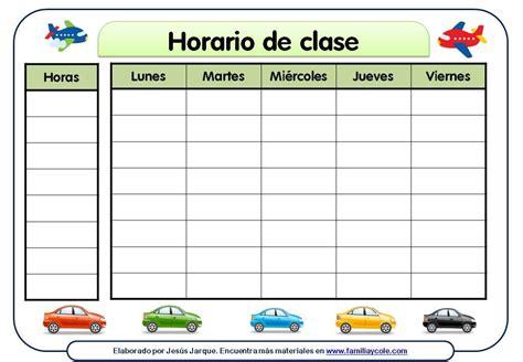 plantillas organizativas de todas clases para imprimir diferentes modelos de horario escolar para descargar e