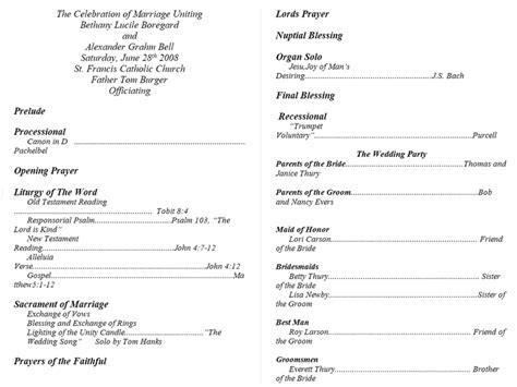 wedding bulletin templates free printable wedding program templates you ll