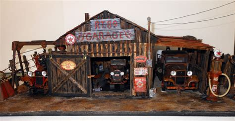 Diorama Mechanics Corner Series 1 Vintage Gas Station Texaco By Gl 1 18 diorama of a 1934 garage gas station