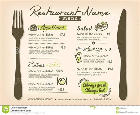 menu card design layout restaurant placemat menu vector design layout stock vector