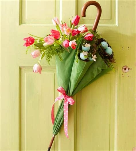 diy door decor diy umbrella and flowers door wreaths for spring diy and