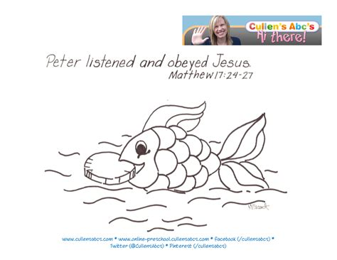 bible coloring pages fish money in a fish bible memory verse online preschool and