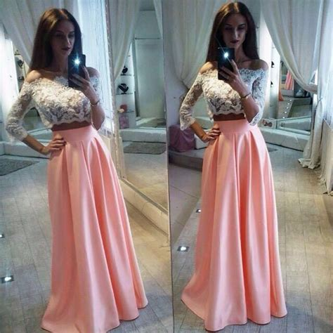 45189 Pink Halter Lace Blouse Blouse Pink Renda Hitam lace the shoulder two pieces pink a line prom dress prom dresses 2018 prom dresses