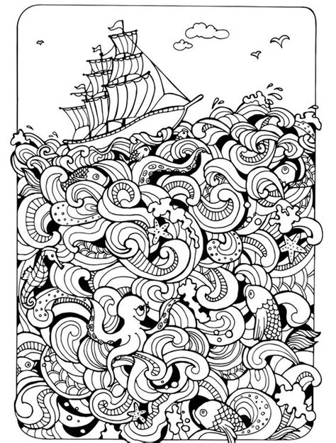 nautical mandala coloring pages ships nautical doodle hard coloring pages for adults