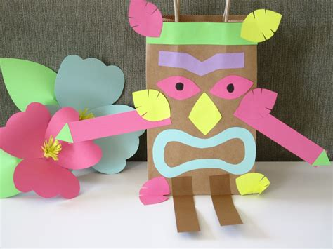 hawaiian arts and crafts for luau paper bag tiki design sprinkle