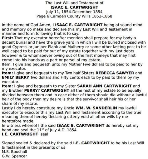 Camden County Marriage Records Isaac E Cartwright 1854 Will Camden County Ncgenweb