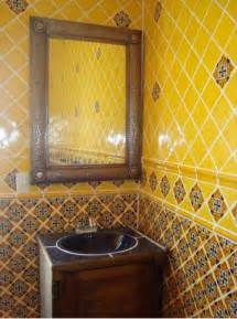 Mexican Tile Bathroom Designs by Mexican Tile In Bathroom With Tin Mirror Mexican Home