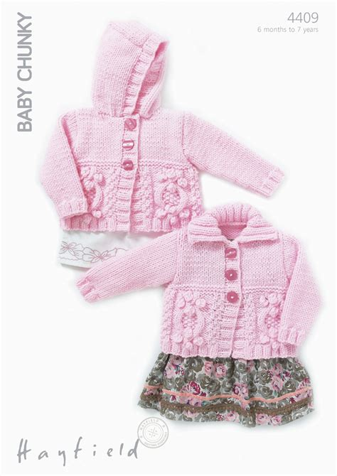baby chunky knit cardigan 4409 hayfield baby chunky cabled bobbled hooded