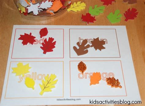printable preschool fall activities printable color activities and sorting activity with fall