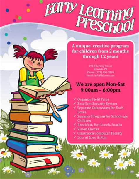 templates for daycare flyers free child care flyer templates early learning preschool