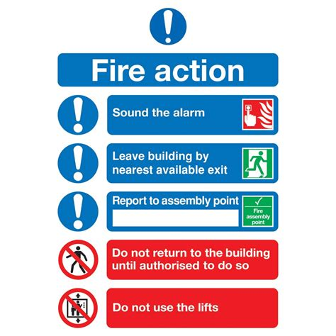 fire action notice sign signs hardware janitorial