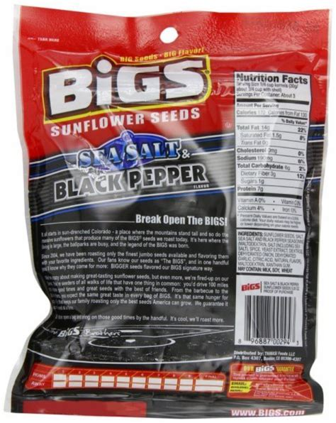 black pepper sunflower seeds calories in bigs sea salt and black pepper sunflower seeds nutrition facts ingredients and