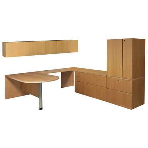 Haworth Desks by Haworth Used Right Return Veneer U Shape Bullet Desk