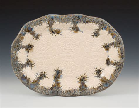 Pottery Platters Handmade - oval lace platter slab work building handcrafted