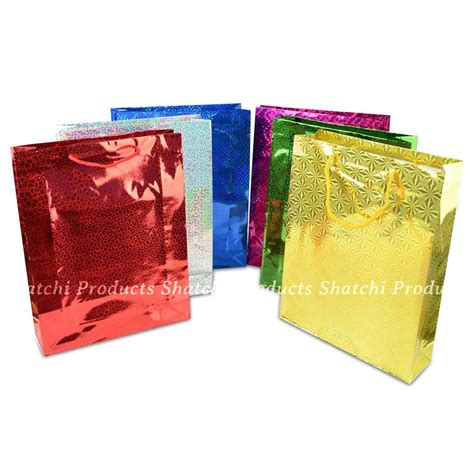 decorative paper gift bags 26x33cm large assorted holographic decorative paper gift