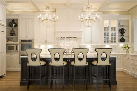 Kitchen With Chandelier Stunning Kitchen With Coffered Ceiling Adorned With A Pair Of Silver Leafed Chandeliers
