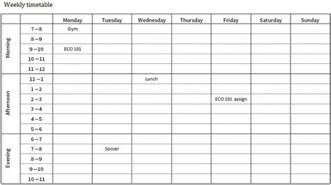 study planner template study planner and weekly timetable for distance