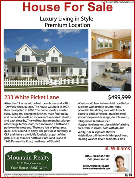 printable house for sale flyers real estate flyers realtyjuggler