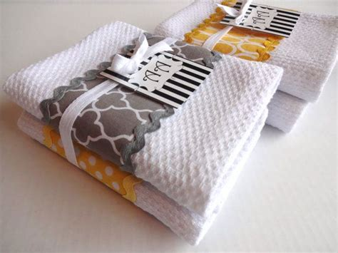 yellow and gray kitchen towels set of 4 yellow and grey kitchen towels yellow and by