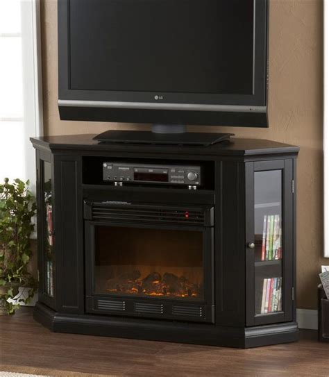 Black Corner Tv Stand Electric Fireplace For The Home Black Corner Fireplace
