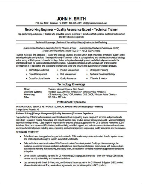 network engineer resume sles network engineer resume template 7 free sles
