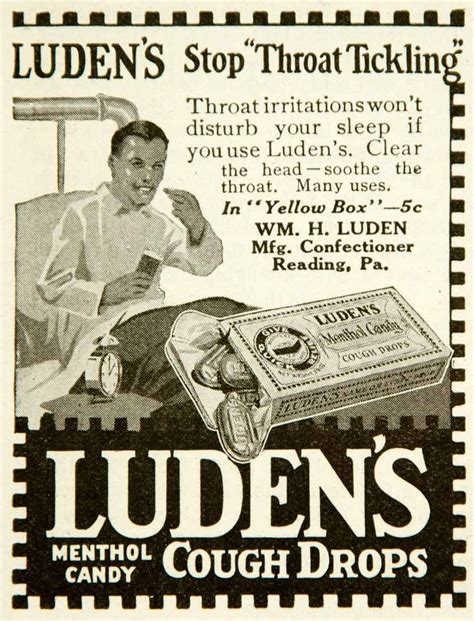 my ate a cough drop 1917 ad luden s cough drops menthol william luden lozenge throat tickling