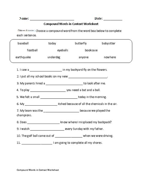 Compound Worksheets by Creating Compound Words Worksheet Englishlinx Board