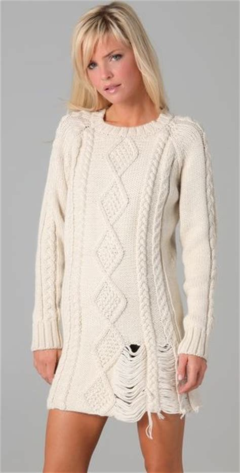 ivory cable knit sweater dress pencey sweater dress in white ivory lyst