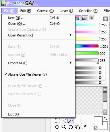 paint tool sai user guide menu sai paint tool