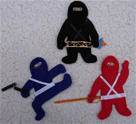 felt ninja pattern crack of dawn crafts ninja finger puppets