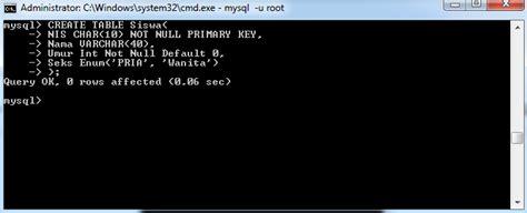 membuat tabel pada mysql command perintah dasar mysql dengan command prompt blog sharing