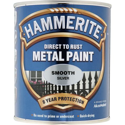 hammerite direct to rust metal paint smooth silver 250ml at wilko