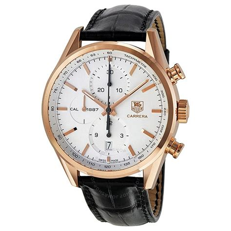 Tag Heuer Cal 1887 Black Orange Leather tag heuer calibre 1887 silver chronograph black leather s car2140 fc8145