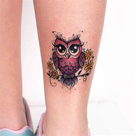 cute owl tattoo on ankle tattoo ideas