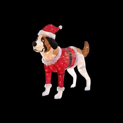 pre lit tinsel dog 50 in pre lit tinsel with santa coat and hat ty355 1514 0 the home depot