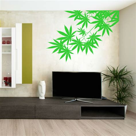 cannabis tree leaf plant weed skunk hash vinyl wall art