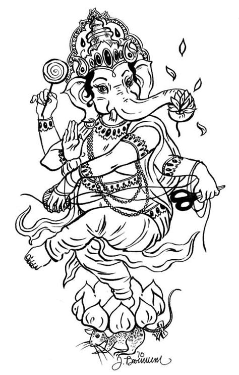 tattoo ganesh sketch outline lotus and ganesha tattoo design by shrilledgeep