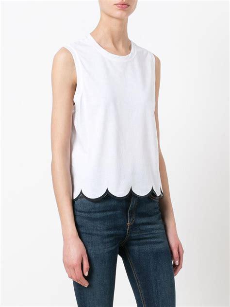 Hem Nevada White M lyst valentino scalloped hem top in white